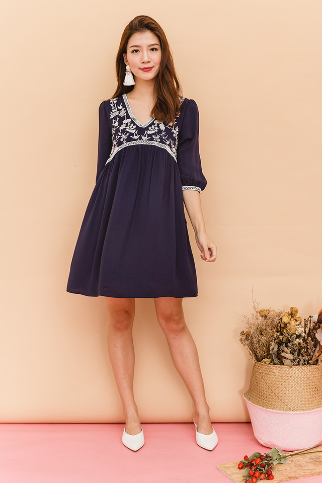 Analeah Embroidery Chiffon Dress in Navy