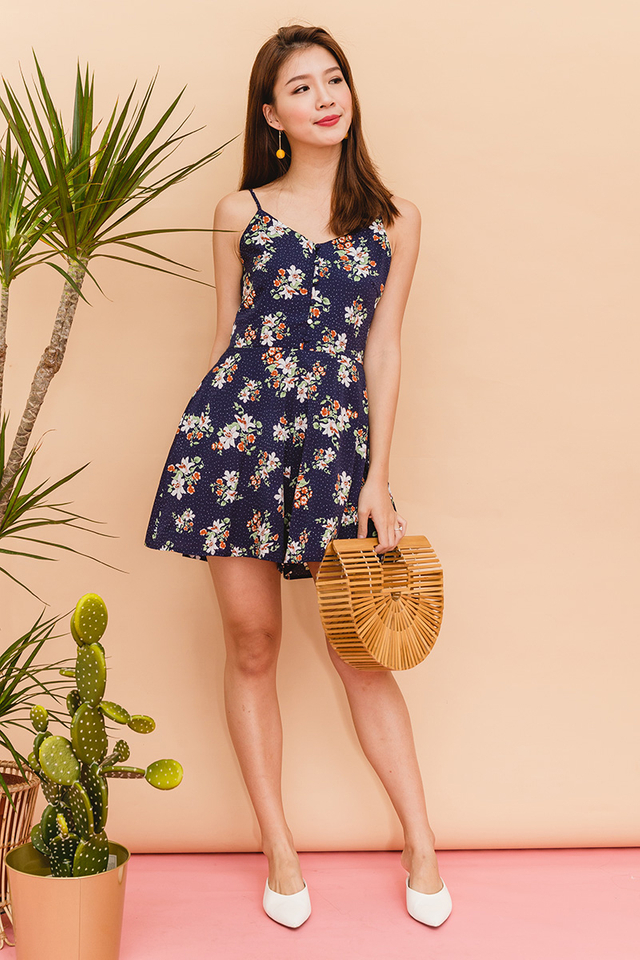 Floral Picks Buttons Romper in Navy