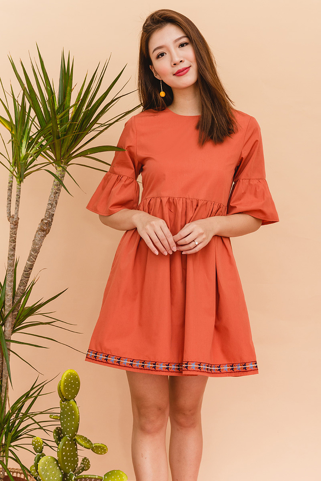Myla Embroidery Babydoll Dress in Rust