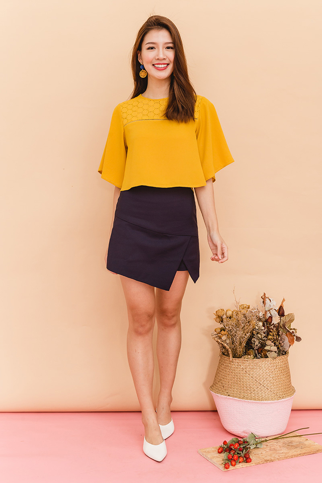 Jayne Eyelet Flutter Sleeves Top in Mustard