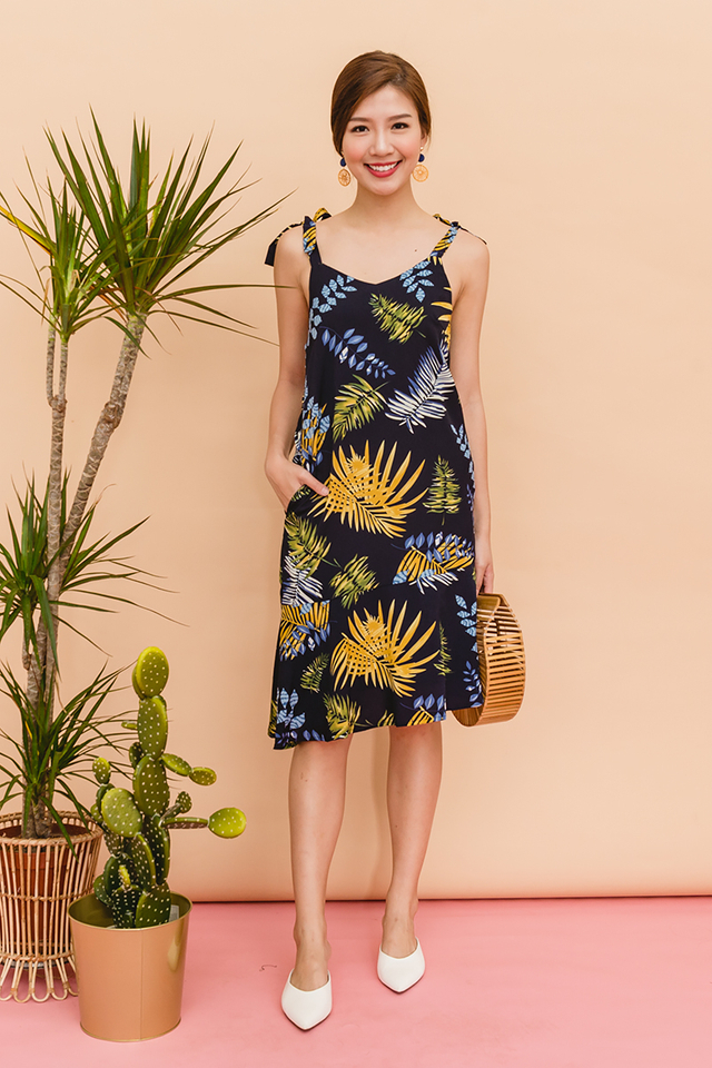Take Me On A Vacation Dress in Navy Palm Prints