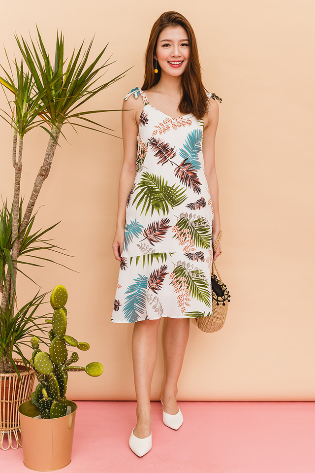 Take Me On A Vacation Dress in White Palm Prints