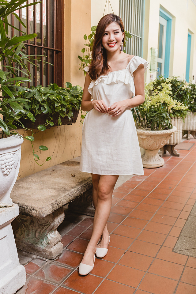 Delilah Linen Dress in Cream White