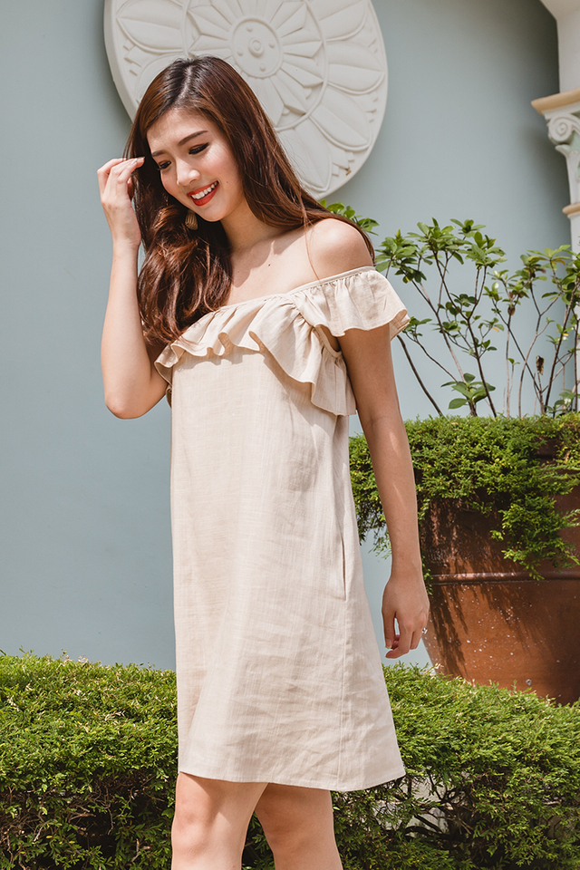 Delilah Linen Dress in Nude