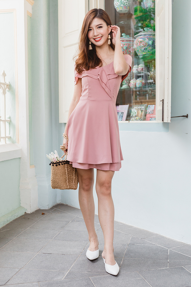 Elsa Flutter Two-Way Dress in Mauve Pink
