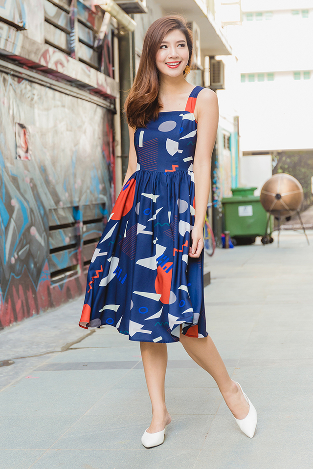 Jolie Swing Dress in Navy Geometric Prints