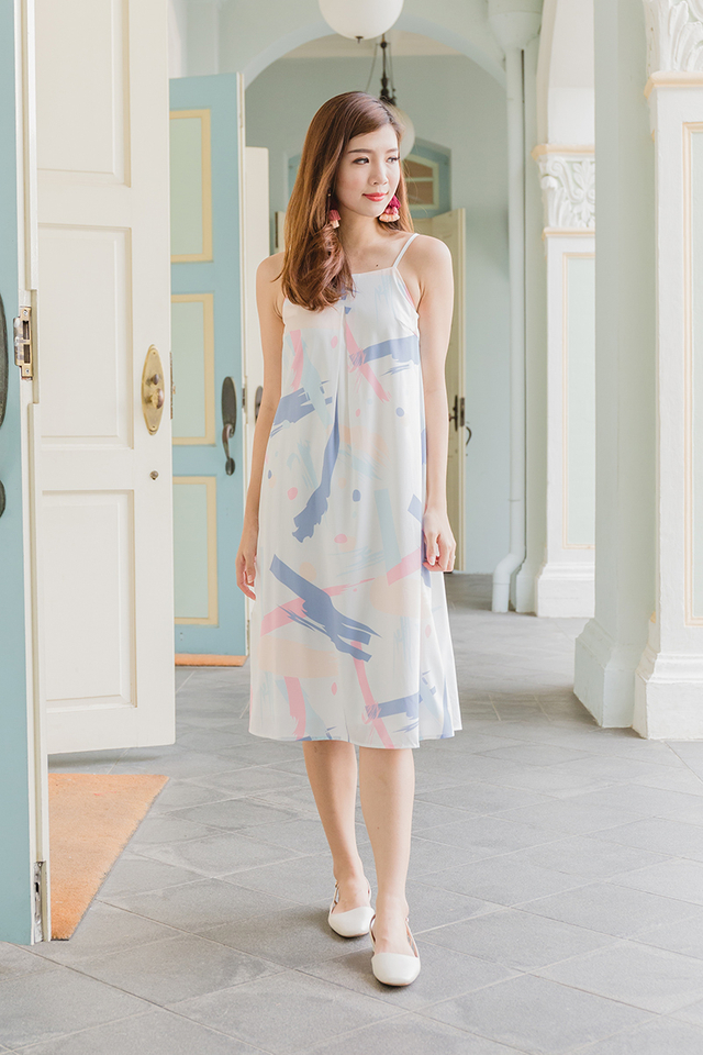 Kora Midi Dress in Pastel Brushstrokes