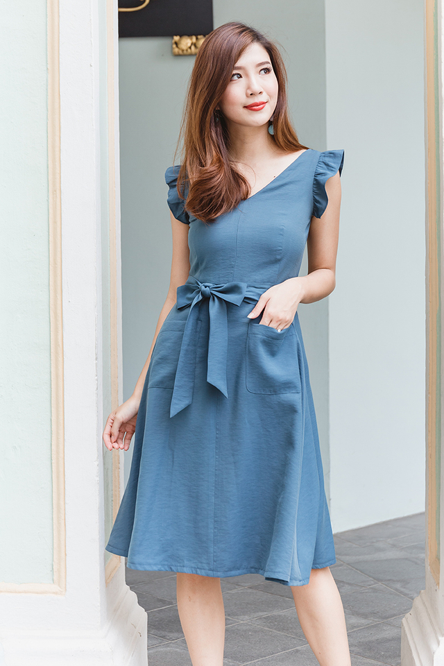 Pockets of Joy Dress in Teal Blue