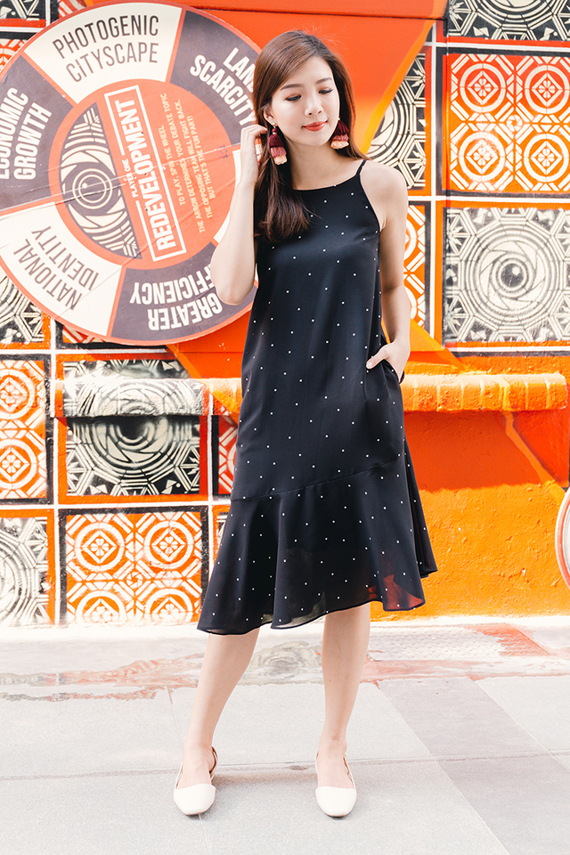 Sunday Fun Day Drop Hem Midi Dress in Polka Dots