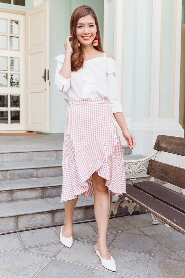 You Blew Me Away Skirt in Pink Gingham