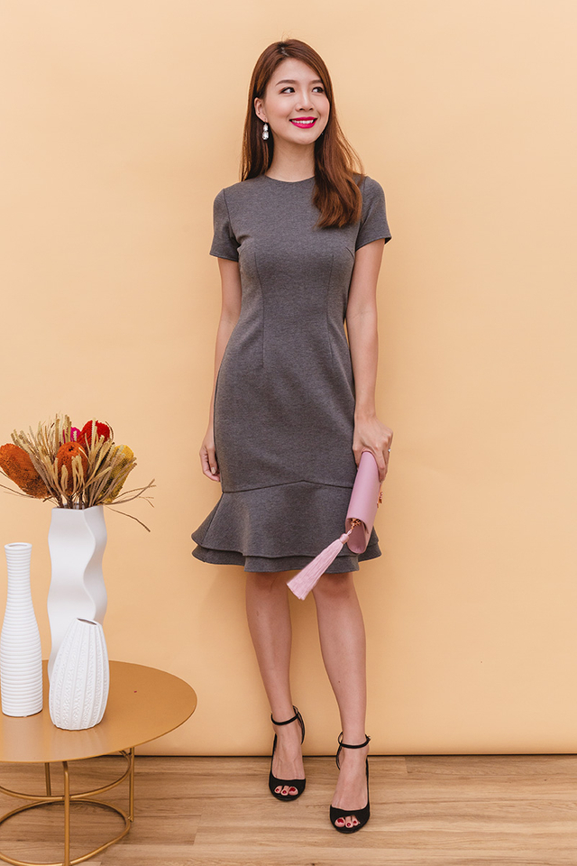 Beatrice Mermaid Midi Dress in Heather Grey