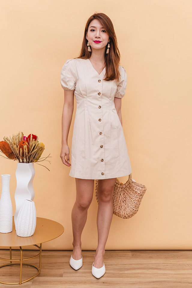 Kaylie Puff Sleeves Dress in Nude