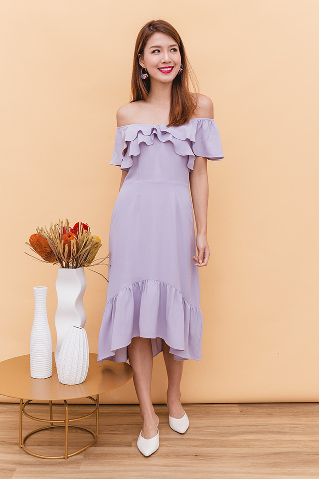 Marissa Off-Shoulder Dress in Lilac Grey