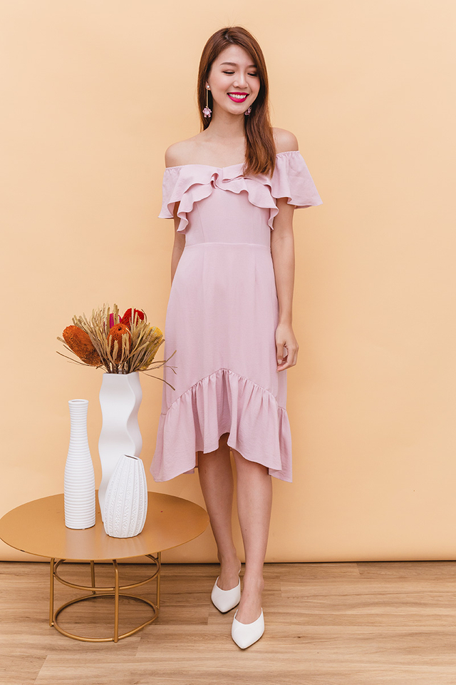 Marissa Off-Shoulder Dress in Romantic Pink