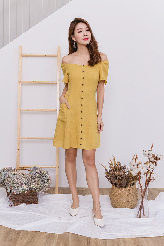 Cherri Two-Way Linen Dress in Mustard