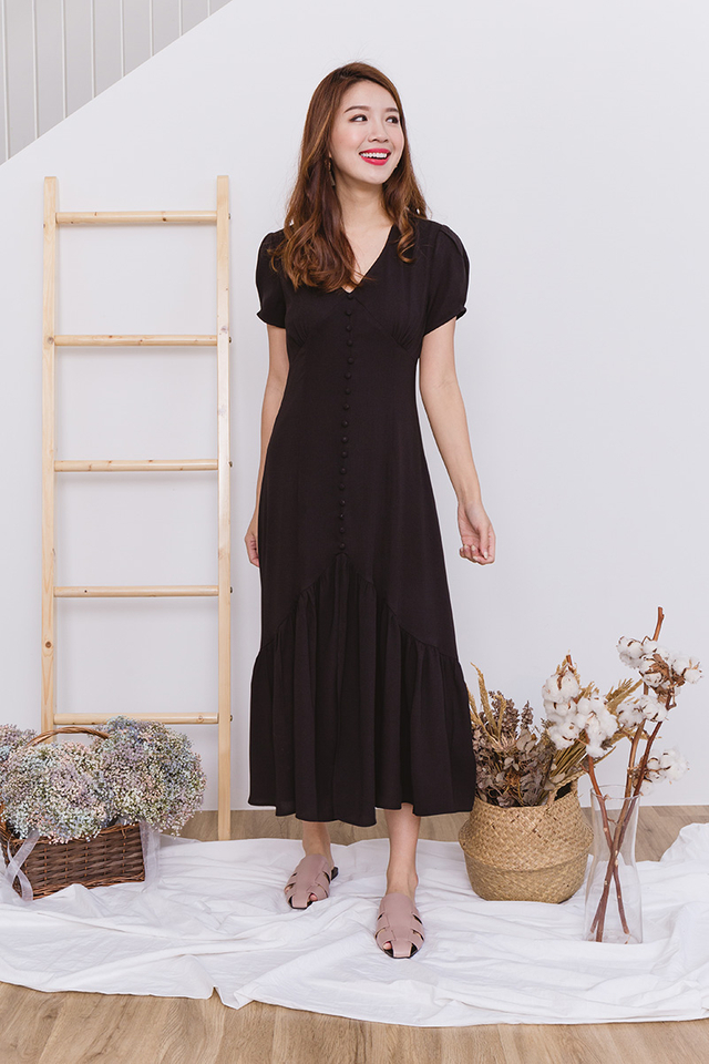 Emilia Drop Hem Dress in Black