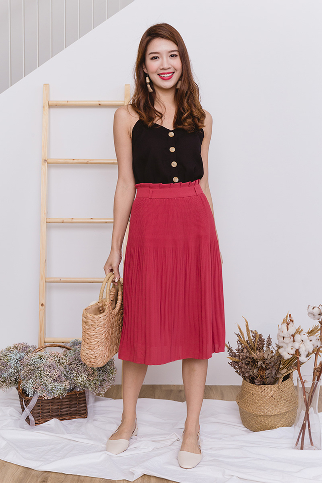 Sweet Treats Paperbag Pleated Midi Skirt in Tea Rose