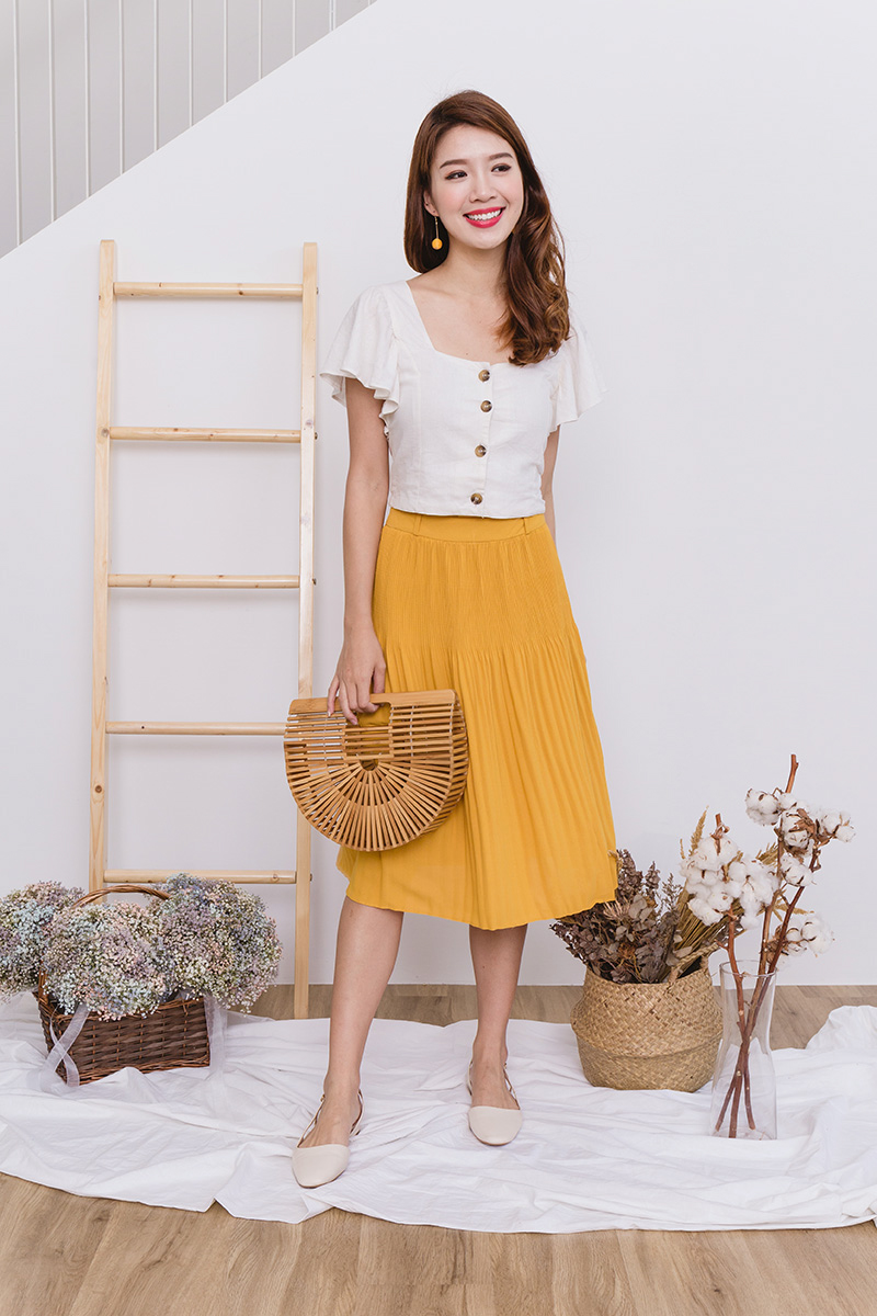 868a0978f Sweet Treats Paperbag Pleated Midi Skirt in Mustard | FlymetoParis