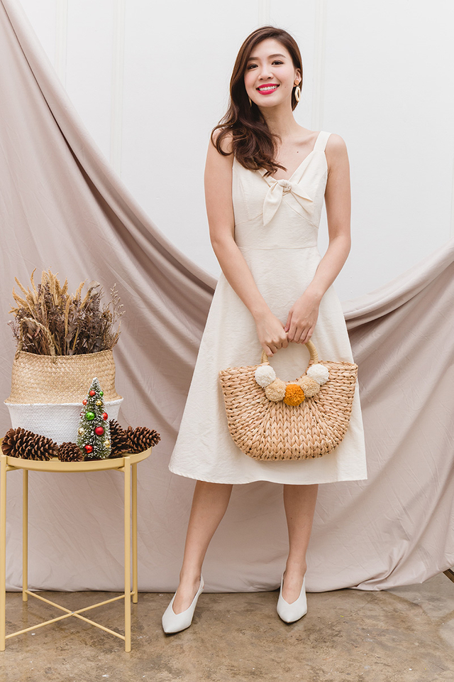 Gladys Knot Dress in Ivory