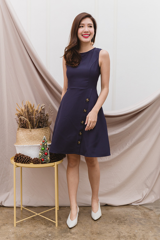 Natalie A-line Buttons Dress in Navy
