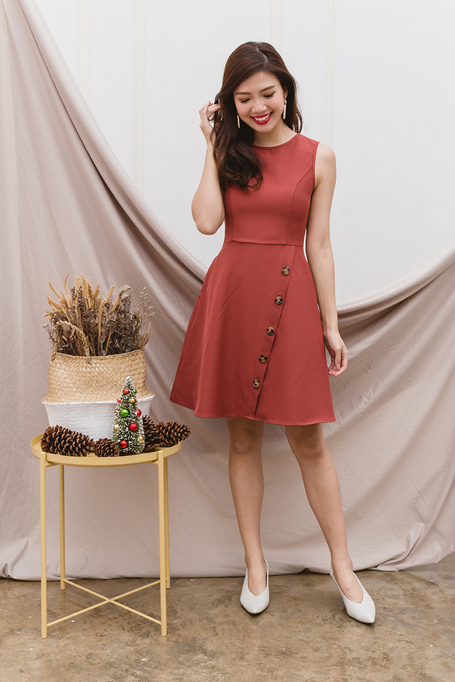 Natalie A-line Buttons Dress in Rust