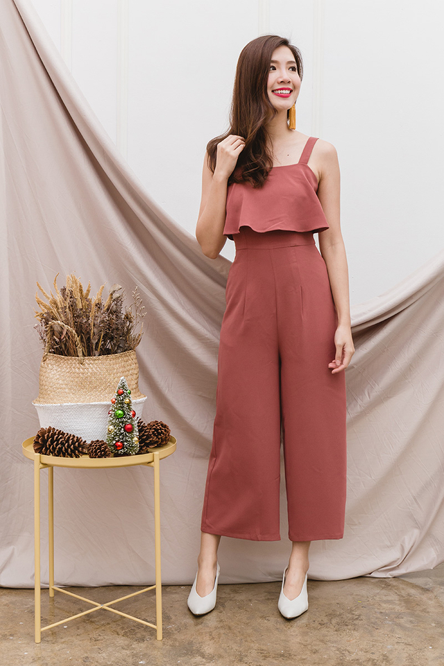 Paige Double-Layer Jumpsuit in Terracotta
