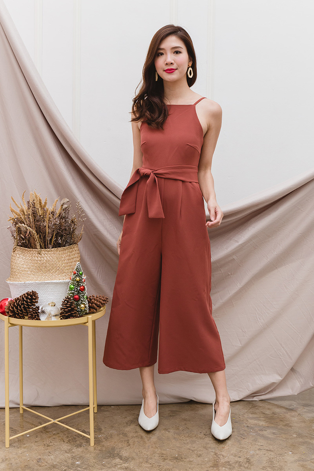 Tasha Culottes Low-back Jumpsuit in Amber Wood
