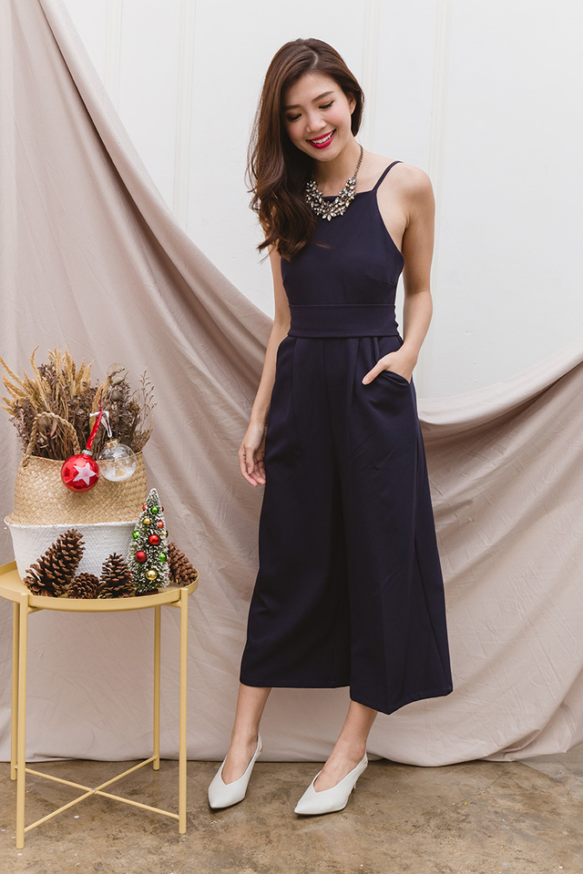 Tasha Culottes Low-back Jumpsuit in Navy