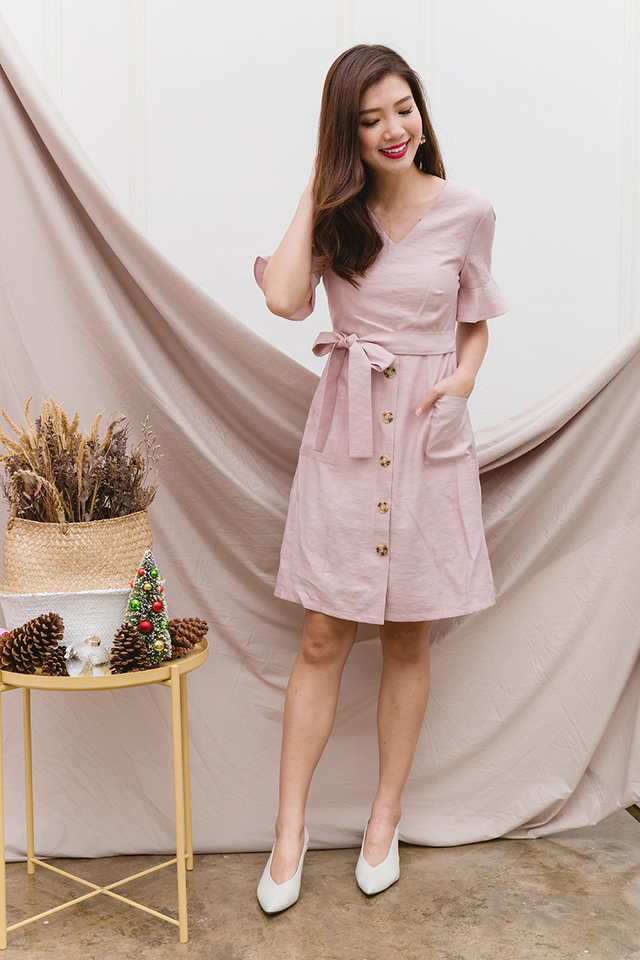 Val Ruffled Sleeves Dress in Blush Pink