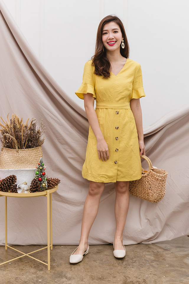 Val Ruffled Sleeves Dress in Lemon