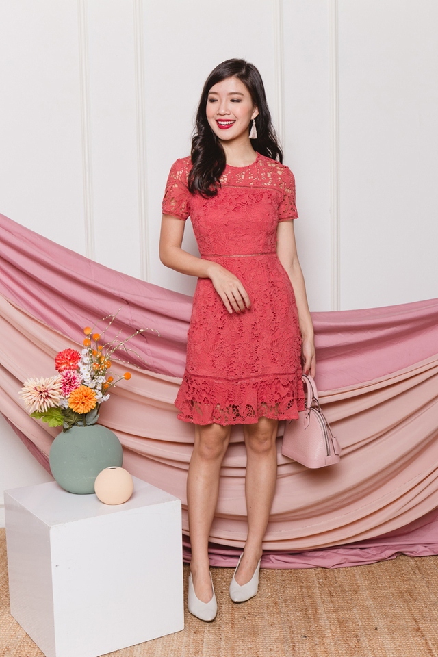 Brimming with Happiness Crochet Dress in Coral Rose