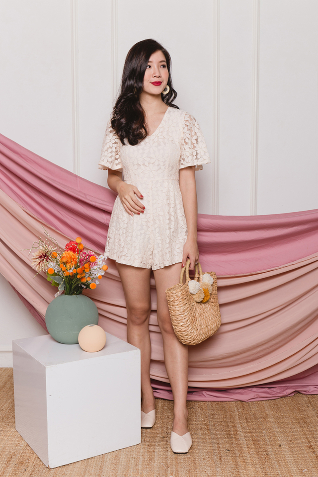 Dancing Daisies Lace Romper in Cream