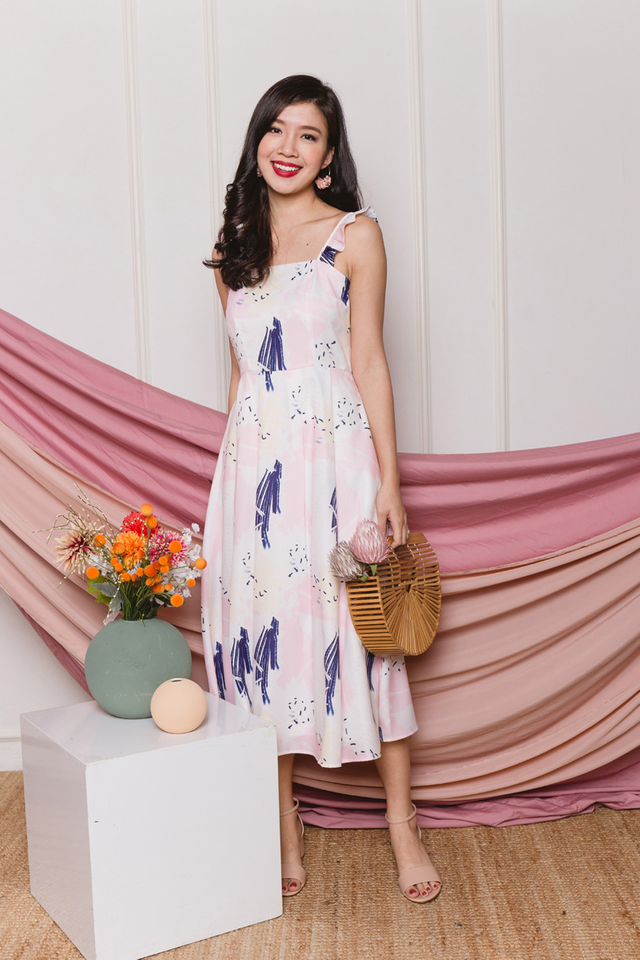 Lucia Ruffled Strap Midi Dress in Pastel Pink Abstract