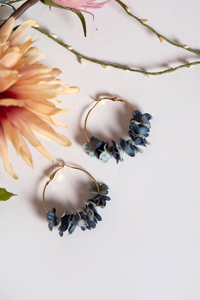 Petal Blossoms Hoop Earrings in Pastel Blue