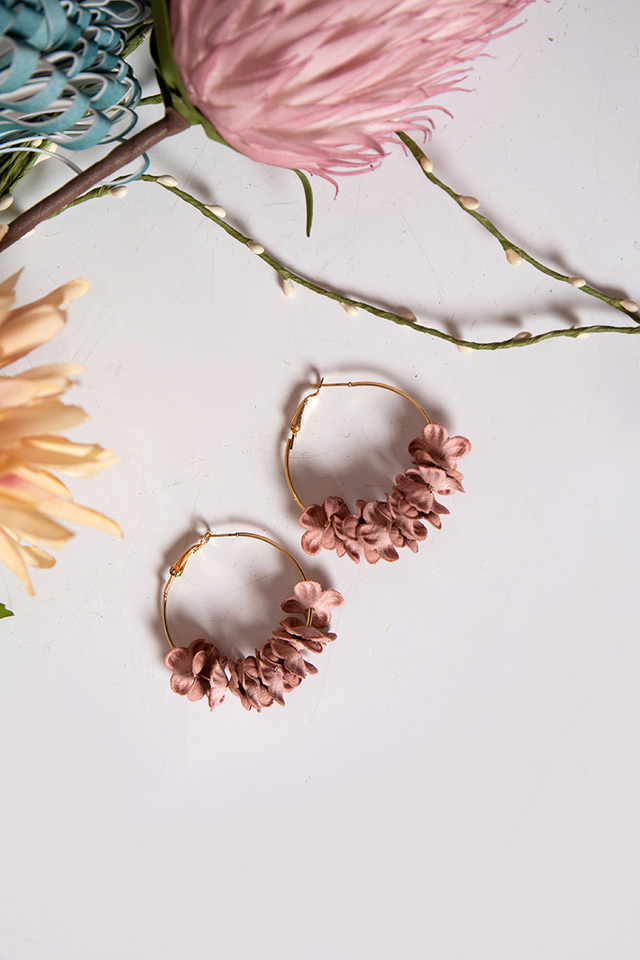 Petal Blossoms Hoop Earrings in Pastel Pink