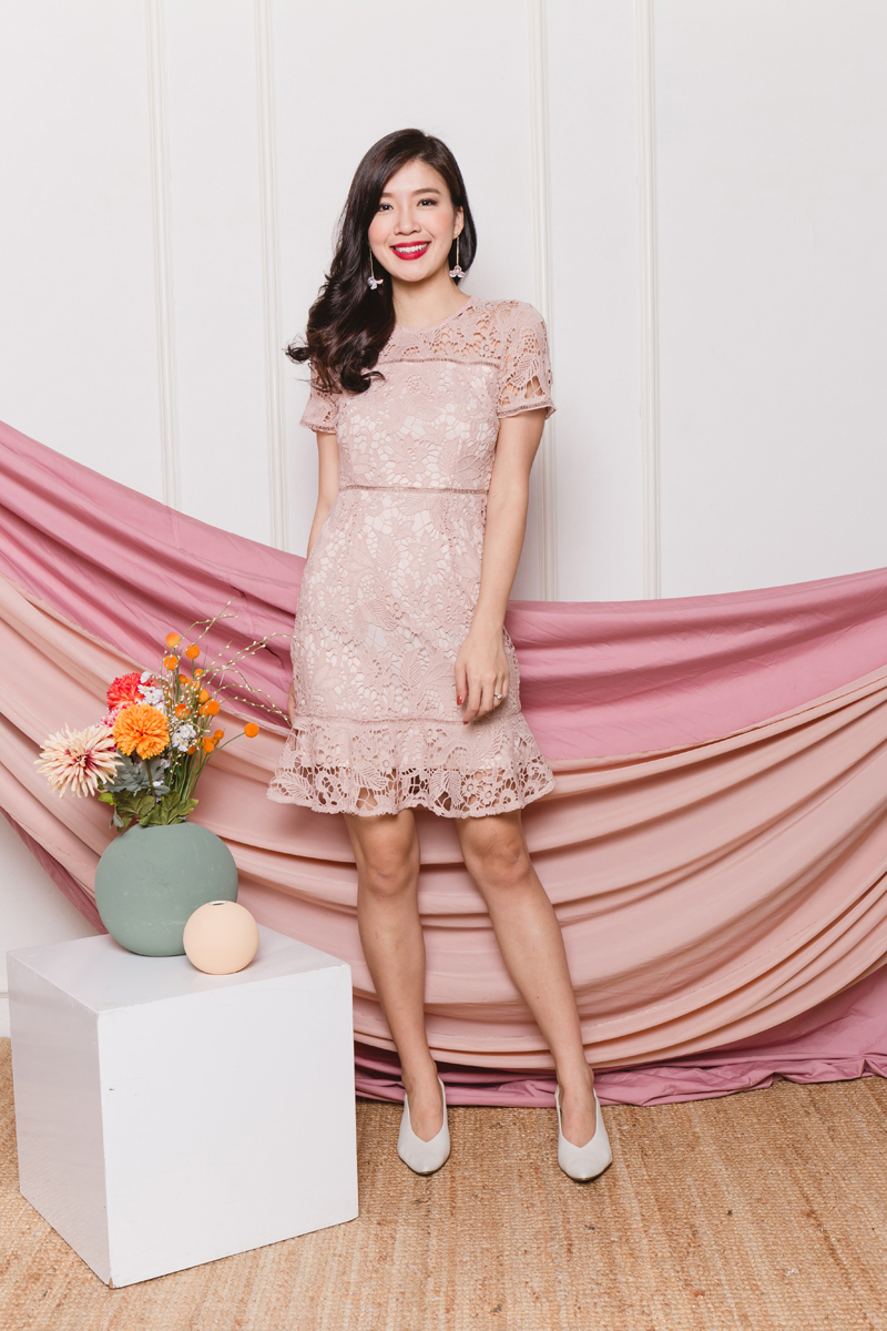 Brimming With Happiness Crochet Dress In Baby Pink Flymetoparis