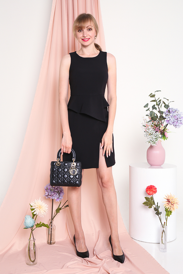 Faith Peplum Slit Dress in Black
