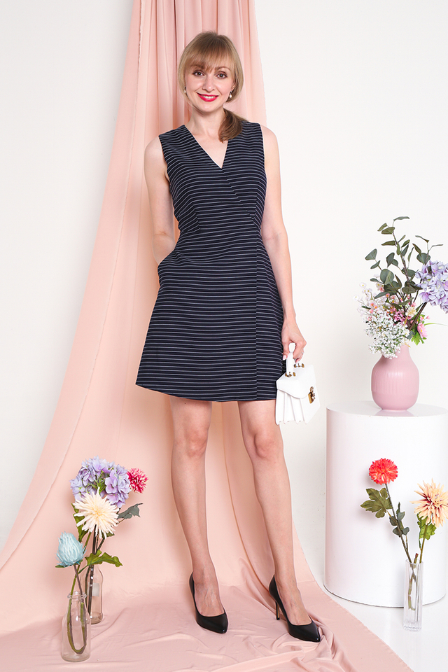 Emery Striped V-Neck Dress in Navy