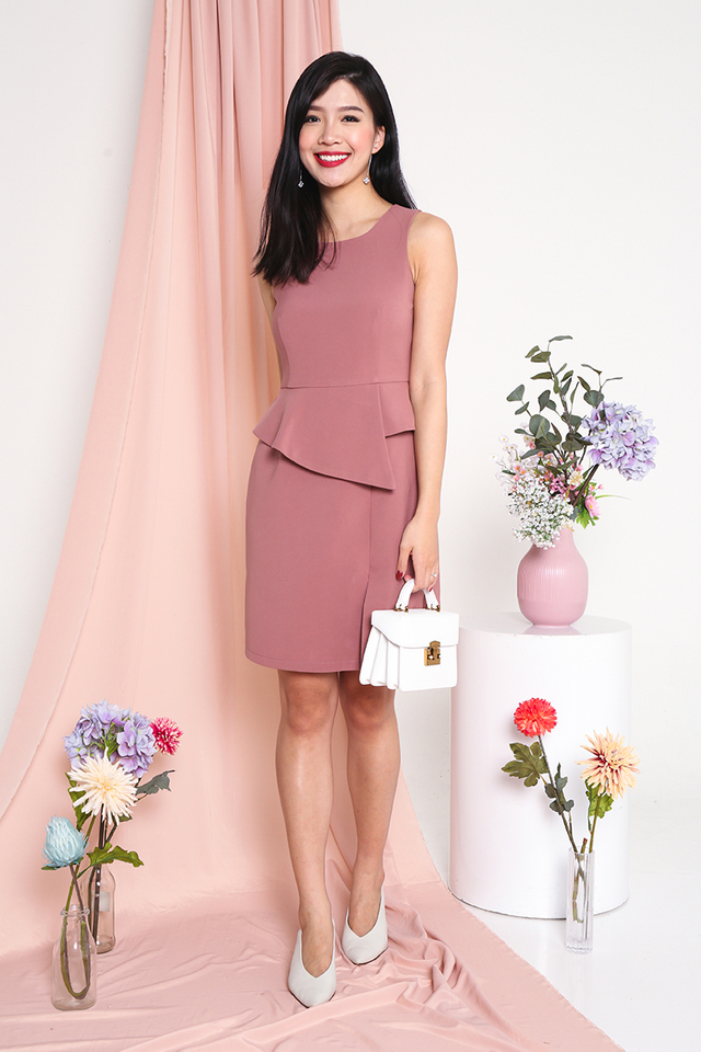 Faith Peplum Slit Dress in Light Tea Rose