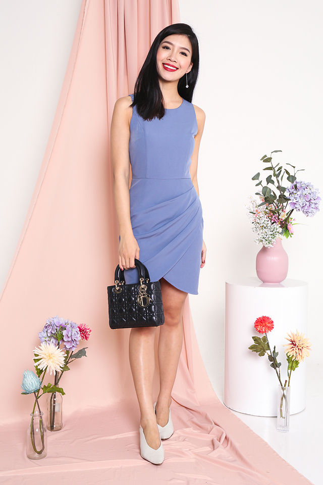 Alicia Tulip Hem Dress in Periwinkle Blue