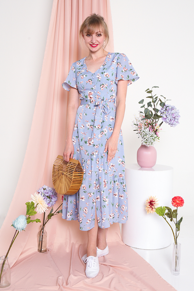 Sweetest Blooms Midi Dress in Sky