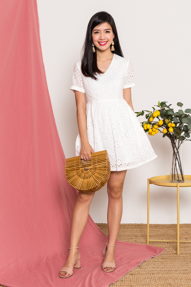 Kora Eyelet Dress in White