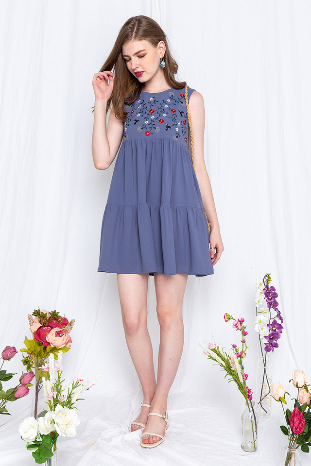 Birds of Paradise Embroidery Dress in Blue Bell