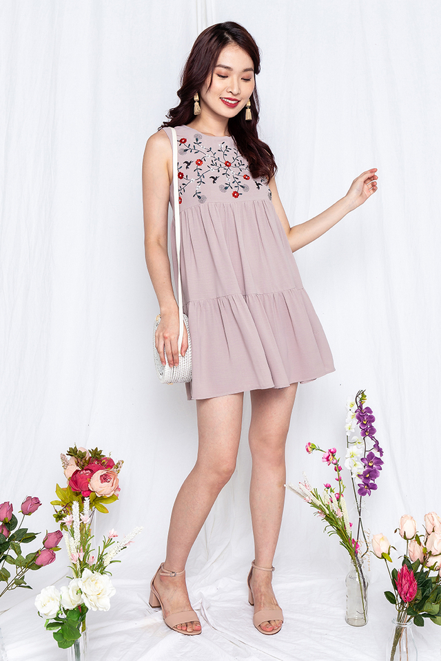 Birds of Paradise Embroidery Dress in Taupe
