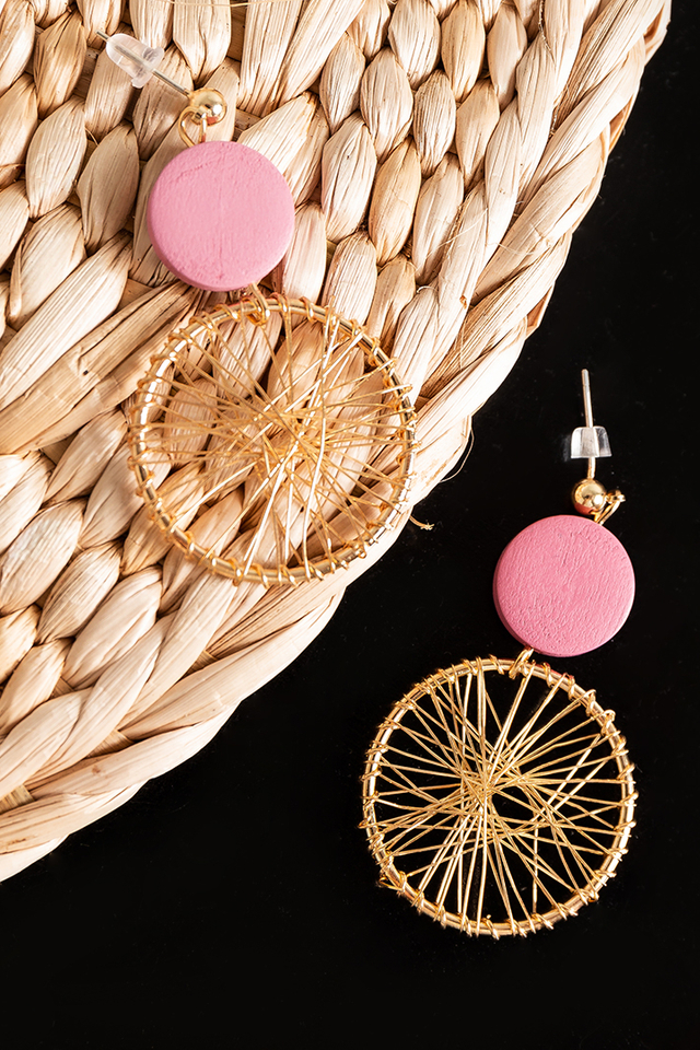 Lidia Mesh Earrings in Pink Gold