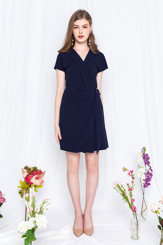 Suit Up Dress in Navy