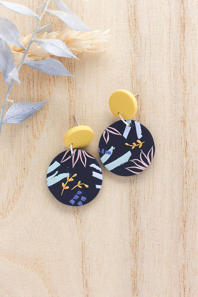 Tuileries Round Dangles in Midnight Blue (Yellow)