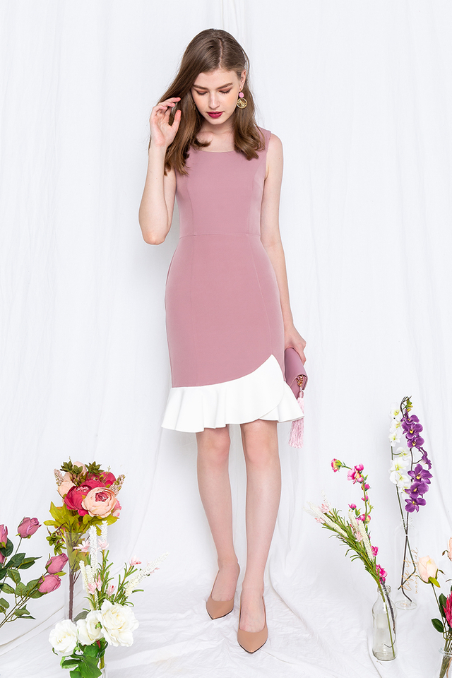 Tulip Petals Work Dress in Mauve Pink
