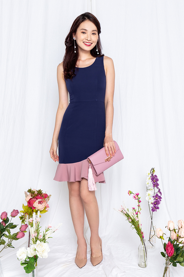 Tulip Petals Work Dress in Navy