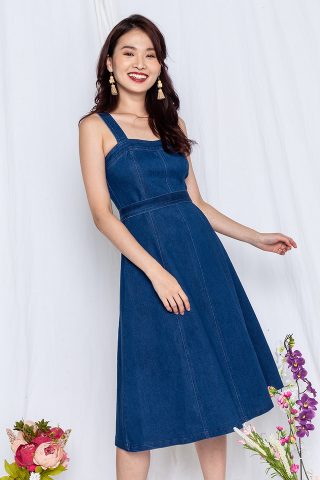 Denim Fantasy Dress in Dark Wash